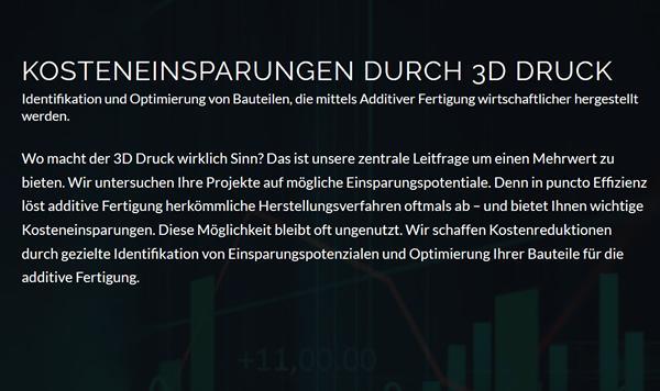 Kosteneinsparung 3D Druck